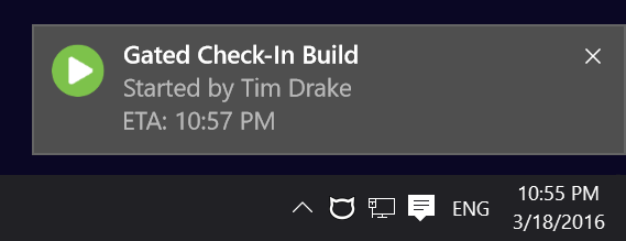 Build started notificaion